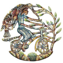 Angels on Bicycle Hand Painted 24-inch Metal Wall Art - Croix des Bouquets - $96.85+