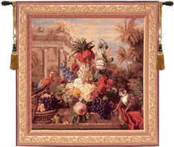Bouquet Exotique with Monkey European Tapestry Wall Hanging - $577.85