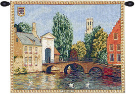 Brugges Riverside with Bridge European Tapestry Wall Hanging - £91.11 GBP