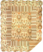 Brown Paisley Stripe Quilt Wall Tapestry Afghans - $71.85+