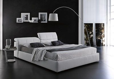 J&M TOWER Storage Queen Size Platform Bed White Contemporary Style MADE IN ITALY