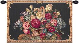 Flower Basket Black II Tapestry Wall Art Hanging - $117.85