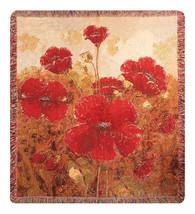 Garden Red Poppies Wall Tapestry Afghans - £59.18 GBP+