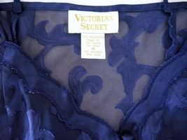 VICTORIA'S SECRET purpleblue chiffon/brocade satin flower teddy skirt bottom szM - $18.99