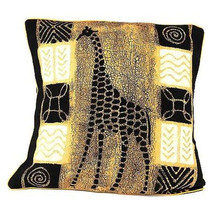 Handmade Black and White Giraffe Batik Cushion Cover - Tonga Textiles - $34.85
