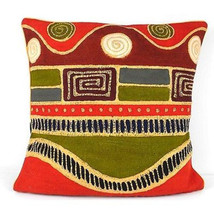 Handmade Geometric Wave Batik Cushion Cover - Tonga Textiles - $34.85