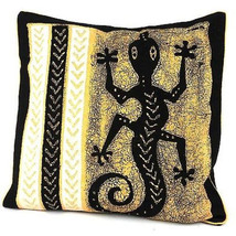 Handmade Black and White Lizard Batik Cushion Cover - Tonga Textiles - $34.85
