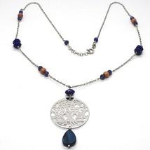 Necklace Silver 925, Lapis Lazuli, Pendant Locket Tree of Life - $162.81