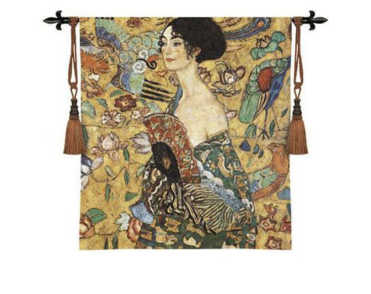 Klimts Lady With Fan Tapestry Wall Hanging