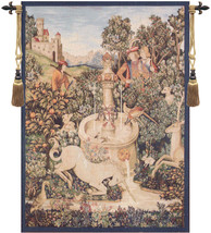 Licorne A La Fontaine I European Tapestry Wall hanging - $443.85