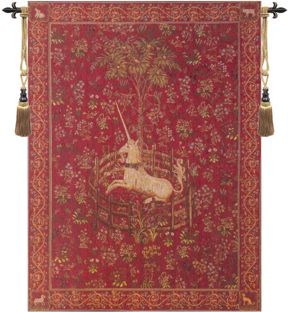 Licorne Captive Rouge European Tapestry Wall Hanging