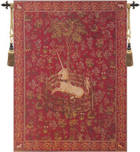 Licorne Captive Rouge European Tapestry Wall Hanging - $443.85