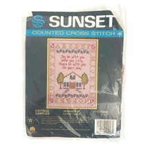 """Sunset Counted Cross Stitch Cottage Sampler Kit Cathy Craig Fits 5"""" By 7... - $13.97"""