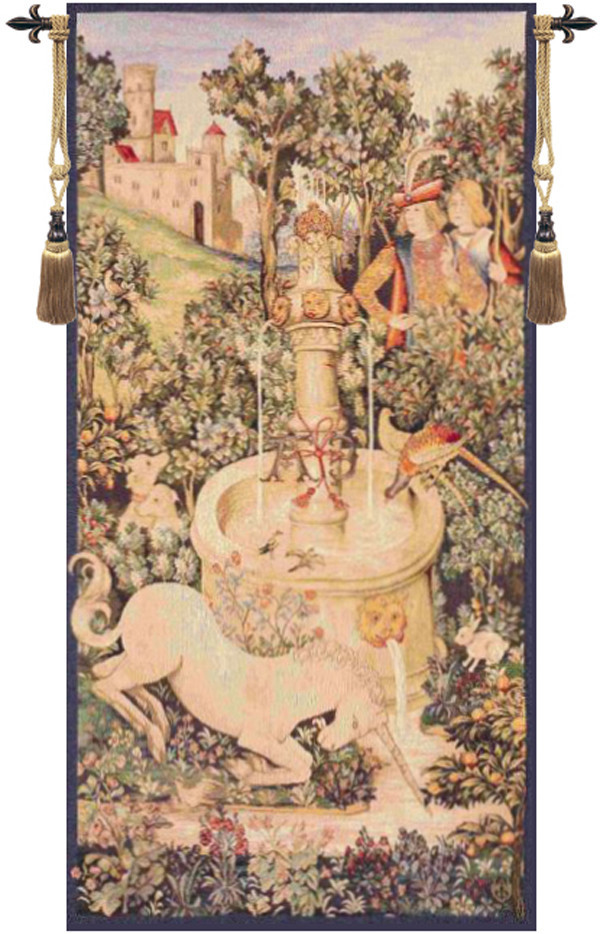 Portiere Licorne Fontaine European Tapestry Wall Hanging