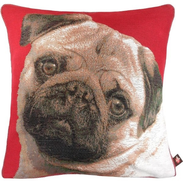 Pugs Face Red European Cushion Cover