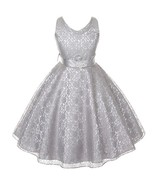 Silver Sleeveless Lace V-Neck Flower Girl Pageant Birthday Wedding Forma... - $40.00