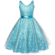 Turquoise Sleeveless Lace V-Neck Flower Girl Pageant Birthday Wedding Dress - $40.00