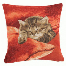 Sleeping Cat Red 2 European Cushion Cover - $62.85