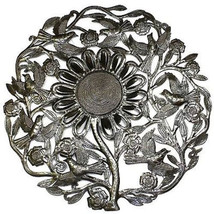 Sunflower and Birds Metal Wall Art 24-inch Diameter - Croix des Bouquets - $88.85+