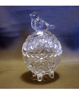 "Small Pressed Glass Trinket Box With Bird On Lid 3.25"" Tall - $4.49"