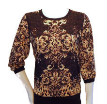 Jennifer Lopez Collection Pullover Blouse Brown Yellow Gold Print S M L - $19.95