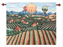 Vineyard View Morning Mist Wall Hanging Tapestry - $84.85+