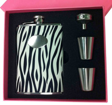 Visol Pink Box Zebra Black & White 8oz Flask Gift Set - €31,56 EUR