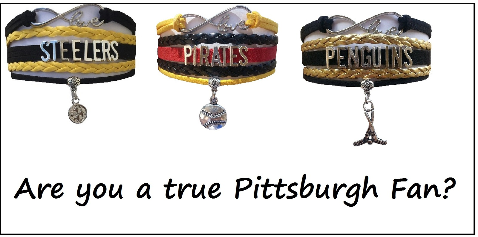 PITTSBURGH Sports Bracelet 3 Pack Gift Special - Steelers, Pirates AND Penguins!