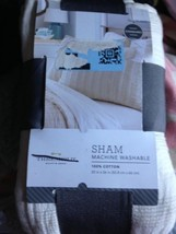 Threshold Cream Textured Stripe Sham Standard New - $17.99