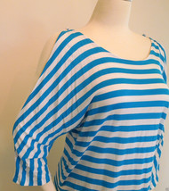 INC INTERNATIONAL CONCEPTS Knit Top Turquoise Bay Striped Ruching Sz XL - $9.95