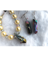 Shell Pearl & AB Raw Quartz Crystal Necklace & Earring Set ~ Sterling  - $35.00