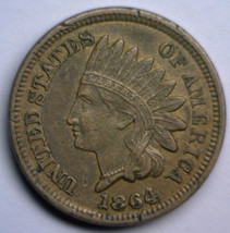 """1864 Indian Head Cent Copper Nickel 1¢ """"White Cent"""" Xf Extremely Fine Condition - $128.63"""