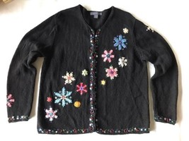 Christmas Ugly Black Sweater Pink Green Blue Snowflakes Button Up Large - $20.79