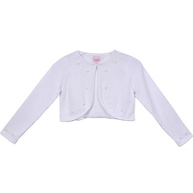White Knit Cotton Bolero Flower Girl Party Pageant Holiday Birthday Bridesmaid - $26.00