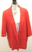 Zara Basic Open Women Long Blazer Red Textured Cotton Blend Large Lined - $42.33