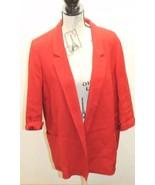 Zara Basic Open Women Long Blazer Red Textured Cotton Blend Large Lined - $42.33