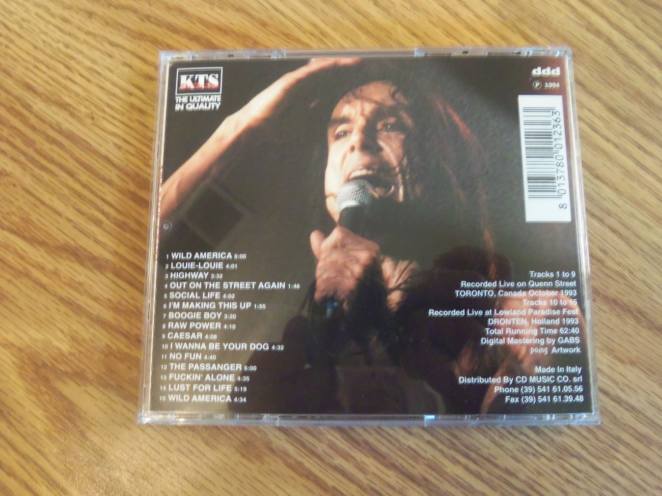 Iggy Pop KTS Out On The Streets Again Live Toronto 1993 Cd