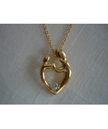 Mothers Love Figural Pendant, Goldtone, Crystal, Chain - $9.99