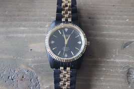 Vintage BENRUS Diamond Anniversary Day Date Black Gold Watch NEW BATTERY - $148.49