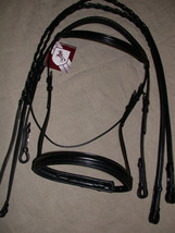 Bobby's FULL Sz BLACK Padded Mono-Crown Wide Flash Bridle w/Reins - $159.94