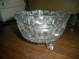 American Brilliant Crystal Cut Glass Footed Candy Dish Elegant Design Et... - $28.04