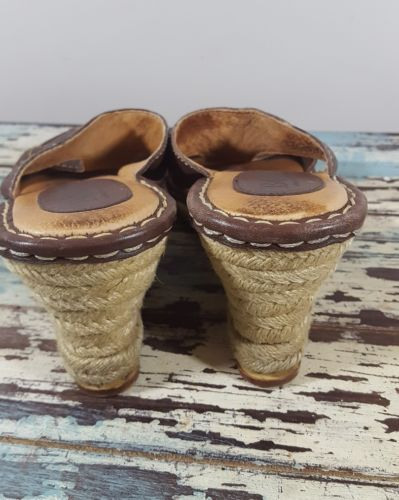 Born sandals 7 wedge espadrilles brown leather slides