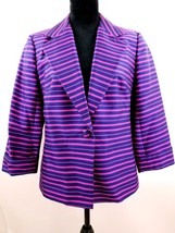 Talbots Women's Fuchsia Pink/Navy Striped Lined Jacket Blazer Size 12 Ke... - $70.18