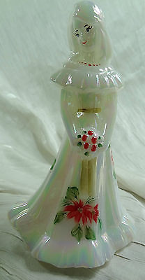 Primary image for Fenton Bridesmaid Doll Mother of Pearl Hand With Painted Poinsettias Christmas