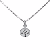 Silver Round Compass Pendant Necklace, Solid 925 Sterling Silver Jewelry - $14.00
