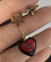 "AUTH Christian Dior 2018 ""D-MURRINE"" HEART BEE EARRINGS AGED GOLD MURANO GLASS image 2"
