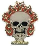 12 Pins - FLAMING SKULL , flames flame lapel pin #4902 - $8.00