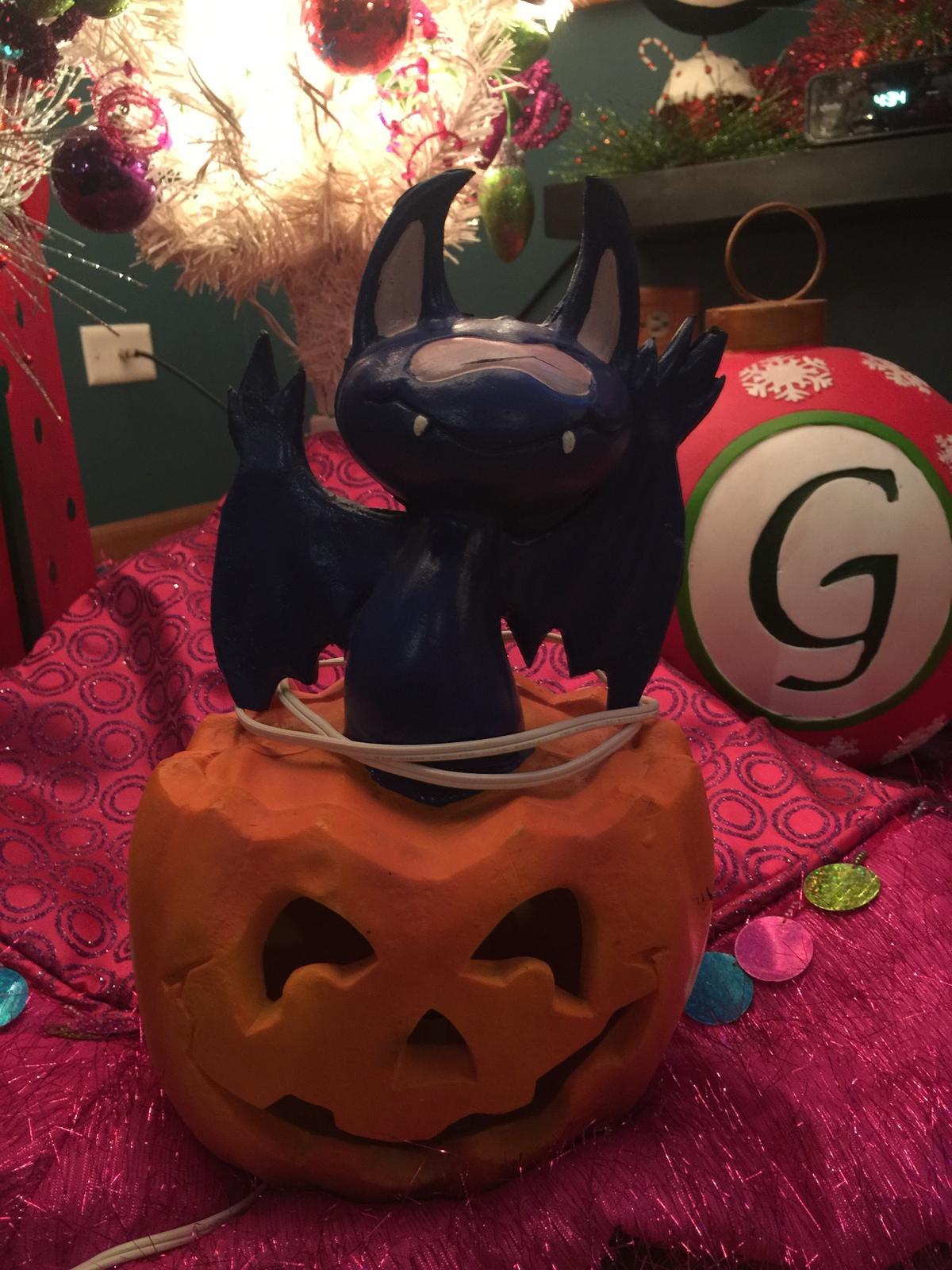 rare halloween bats in pumpkin blow mold halloween yard decoration light up