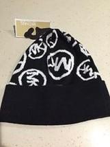 MICHAEL KORS MK Signature Circle Logo Black/White Beanie Hat NWT $48.00 - $24.74