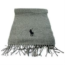 Polo Ralph Lauren 100% Lambs Wool Big Pony Scarf Heather Grey Made In Italy - £23.27 GBP